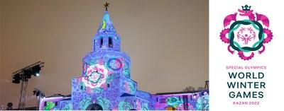 The logo for Special Olympics World Winter Games Kazan 2022 unveiled via projection onto the Kazan Kremlin, a UNESCO World Heritage Site