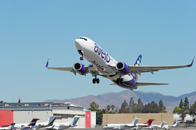 BURBANK, CALIFORNIA - APRIL 28: Avelo Airlines takes off with first flight from Hollywood Burbank Airport on April 28, 2021 in Burbank, California. (Photo by Joe Scarnici/Getty Images for Avelo Air)